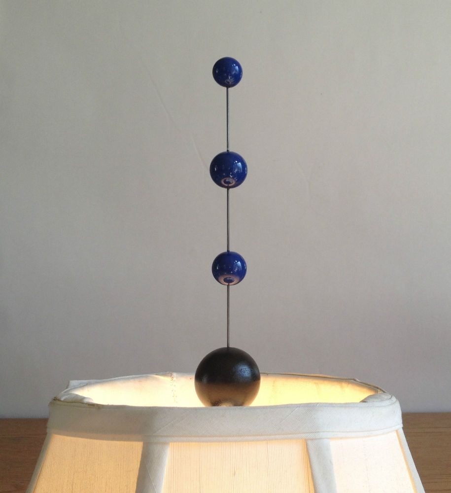 "ATOMIC Ranch ART Retro BLUE 7"" Tier Shade LAMP Light Top FINIAL Modern Sputnik"