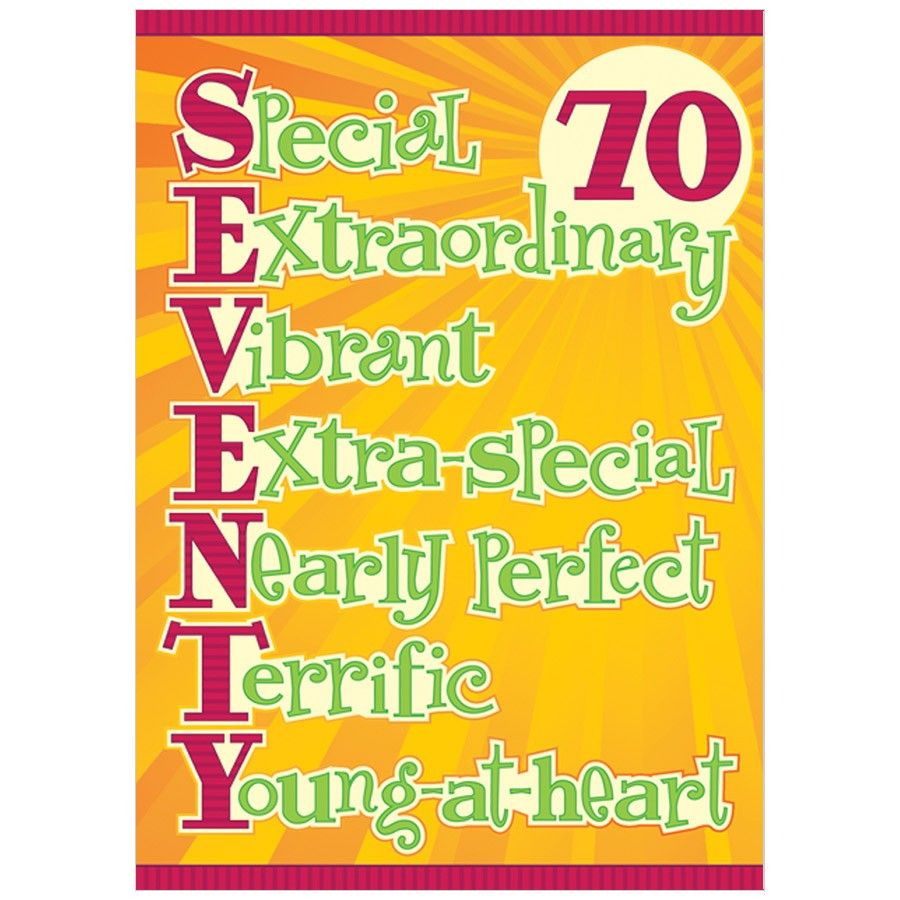 Seventy Acronym Birthday Card