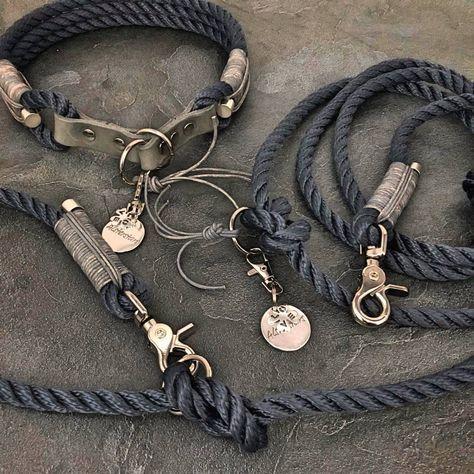 Marine Klassik Meets Grey Leather Premiumtauleine Und Passendes Zugstopp Halsband Mit Fettlederstopp Zugstopp Halsband Halsband Hund Tauleine