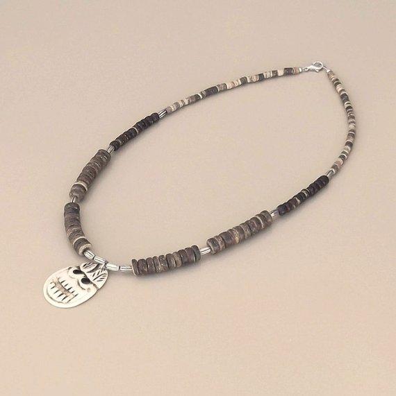 946dce9e0d87d Tiki Mask Bone Pendant on Coconut Shell Wood Bead Necklace for Men ...