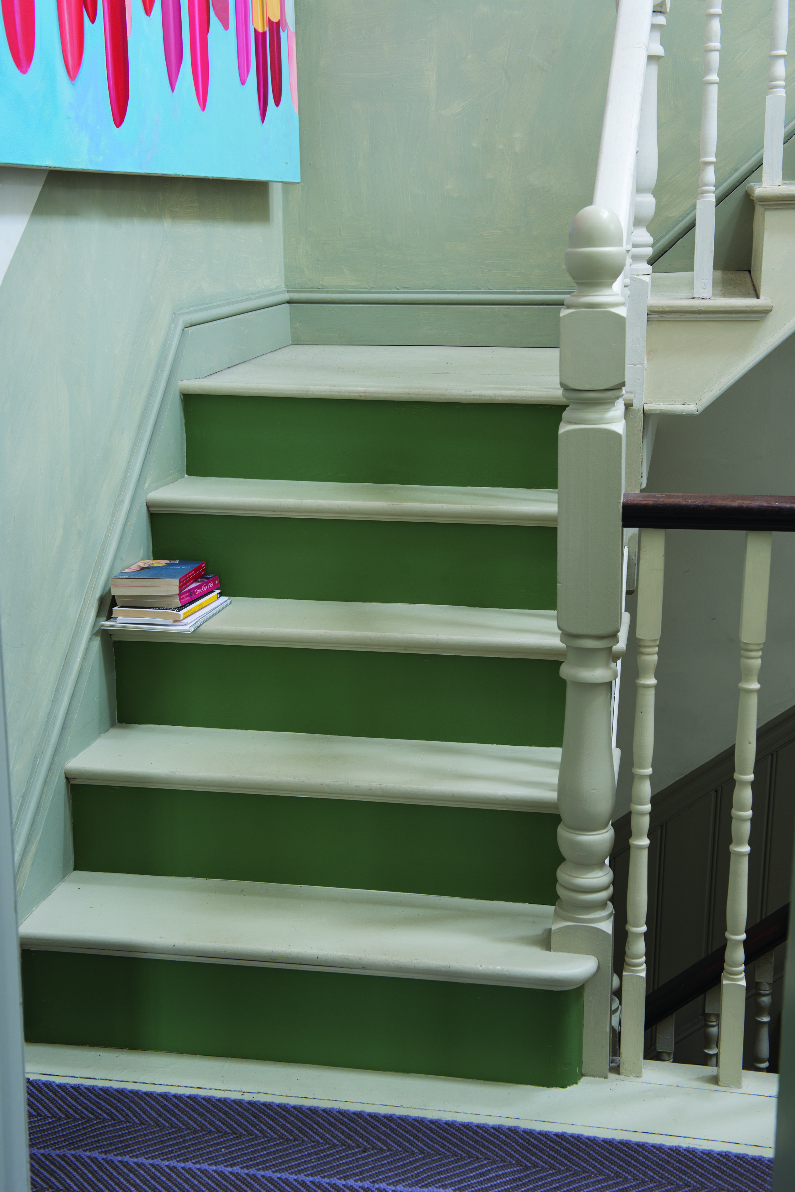 Stairs And Steps In Off White Floor Paint And Calke Green