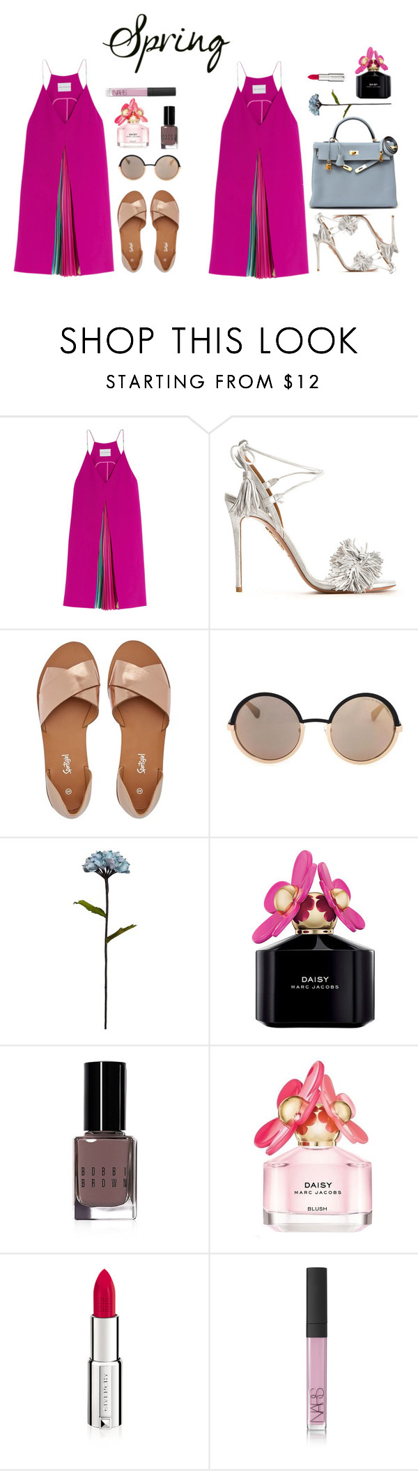 """""""SPRING"""" by marinakoval ❤ liked on Polyvore featuring Mary Katrantzou, Aquazzura, Hermès, Marc by Marc Jacobs, Shabby Chic, Marc Jacobs, Bobbi Brown Cosmetics, Givenchy, NARS Cosmetics and Spring"""