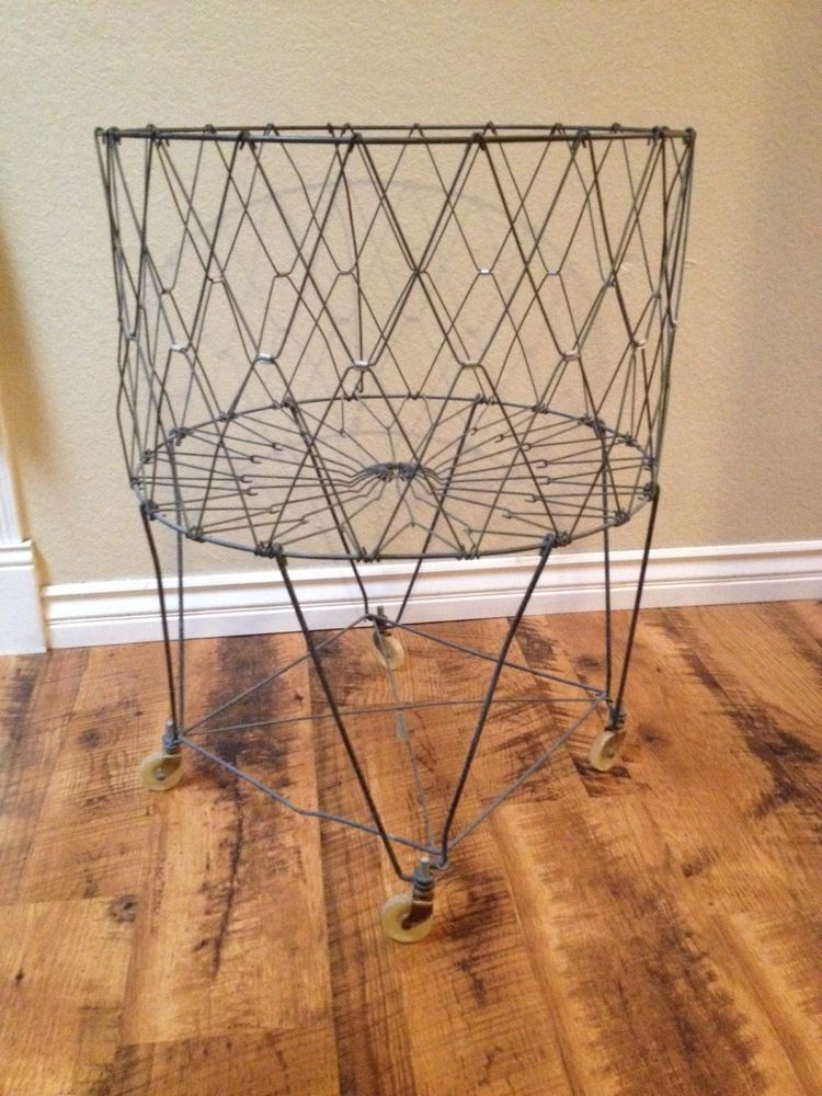 Vintage Wire Collapsible Laundry Basket With Wheels Vintage