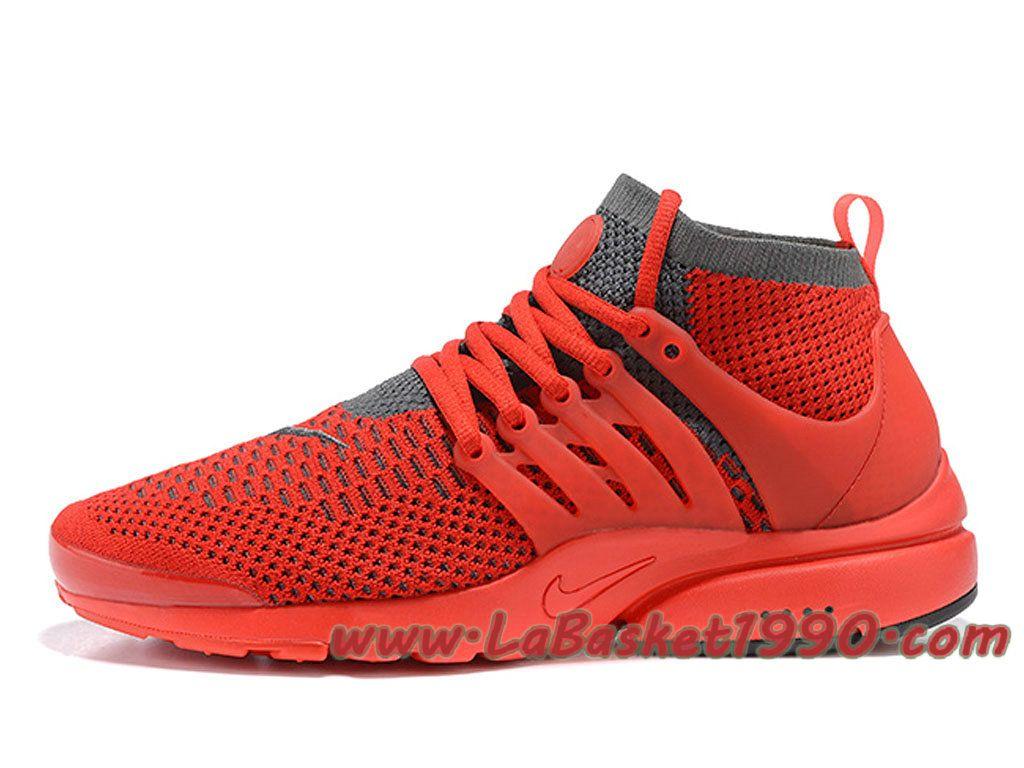 quality design b2024 1d41c Nike Air Presto Ultra Flyknit 835570 ID1 Chaussures de BasketBall Pas Cher  Pour HOmme Rouge Gris-