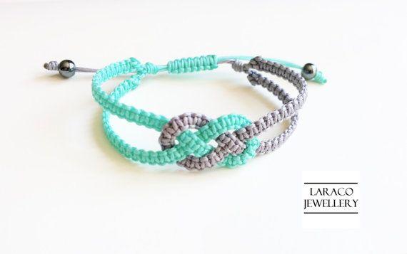 LARACO joyas-Aqua verde y gris marinero doble nudo Macrame amistad cordon pulsera de dos tonos