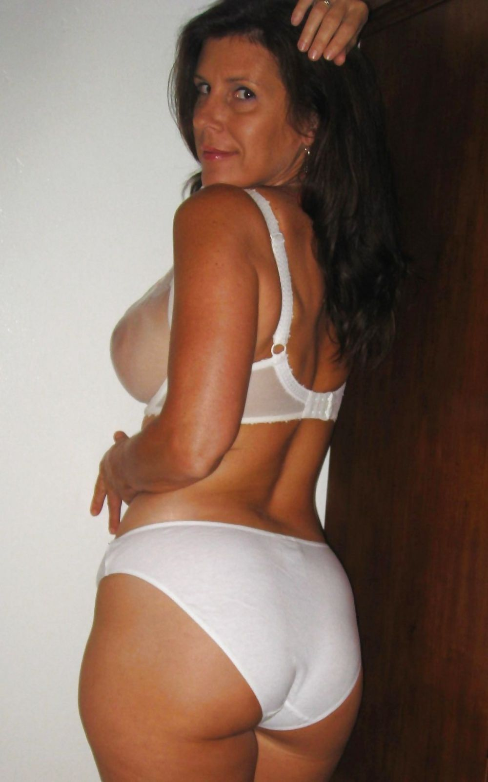 cotton Sexy white panties in mature