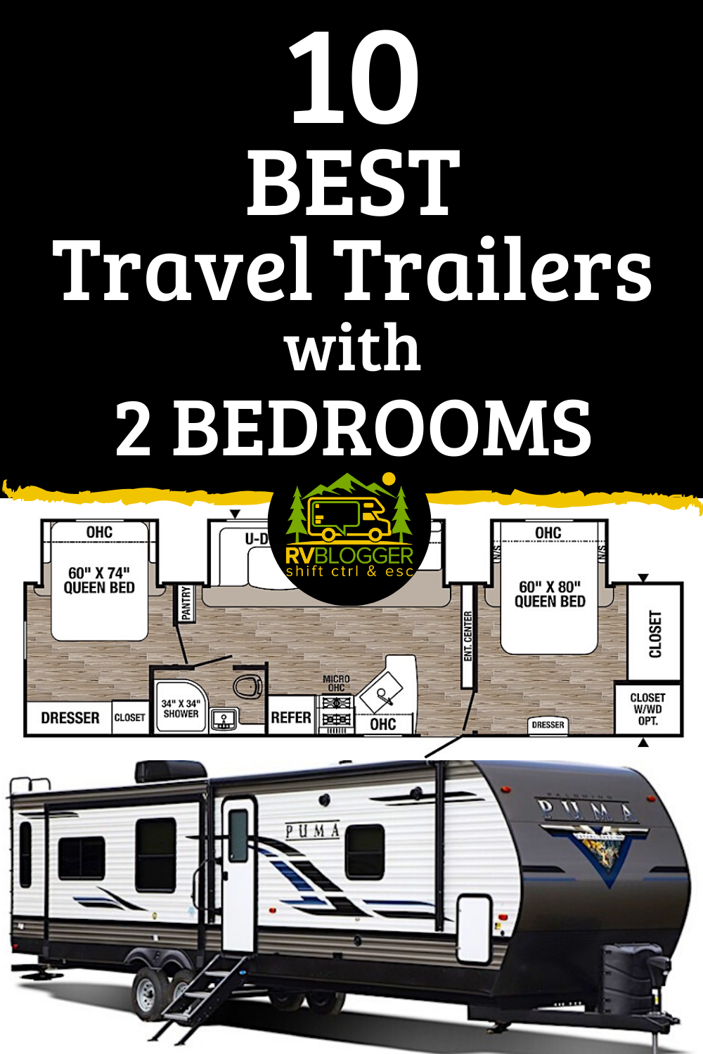 10 Best Travel Trailers With 2 Bedrooms Rvblogger In 2020 Best Travel Trailers Travel Trailer Floor Plans Travel Trailer Living