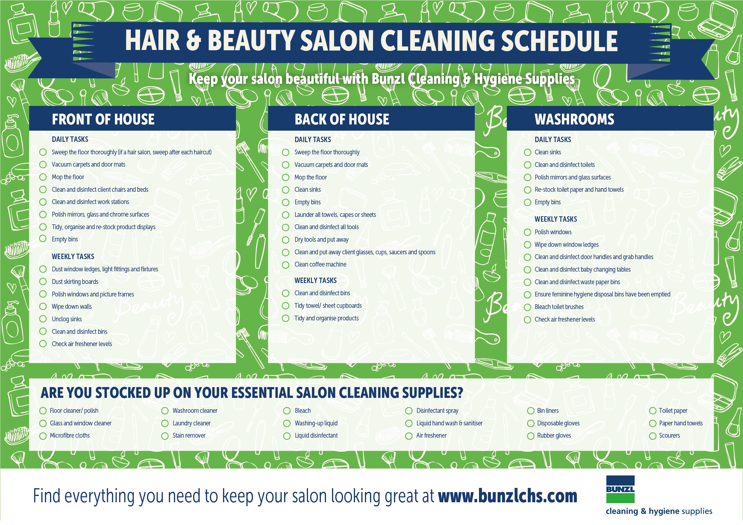 Hair And Beauty Salons Cleaning Schedule And Supply