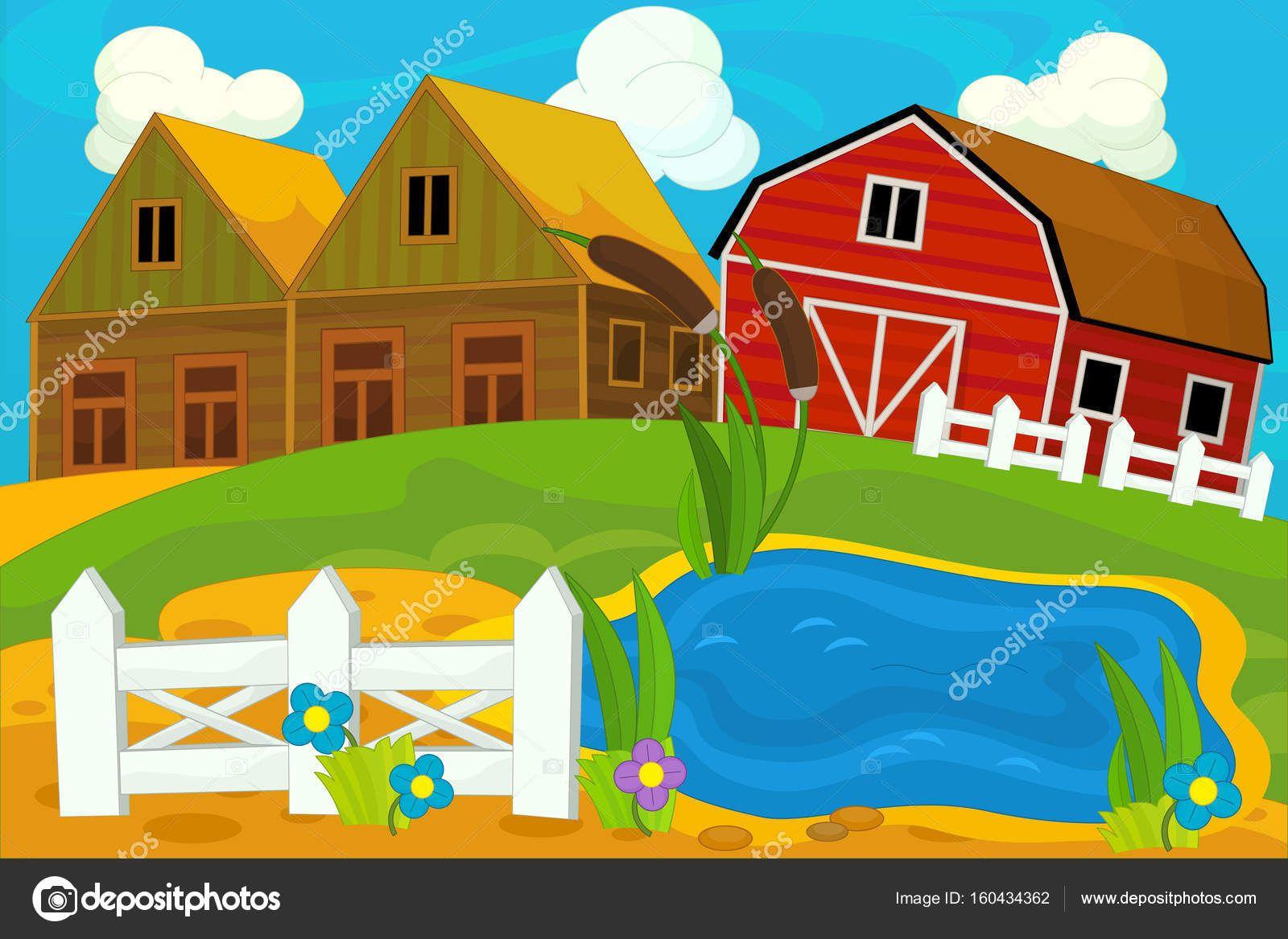 Descargar Dibujos Animados De Campo Y Casas De Madera Imagen De