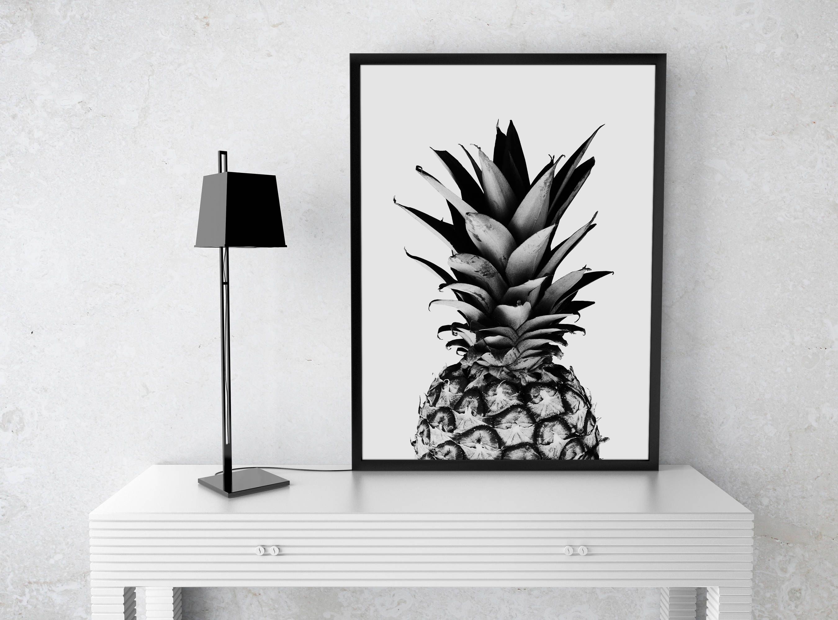 pineapple print fruit pineapple poster wall art black and  - pineapple print fruit pineapple poster wall art black and