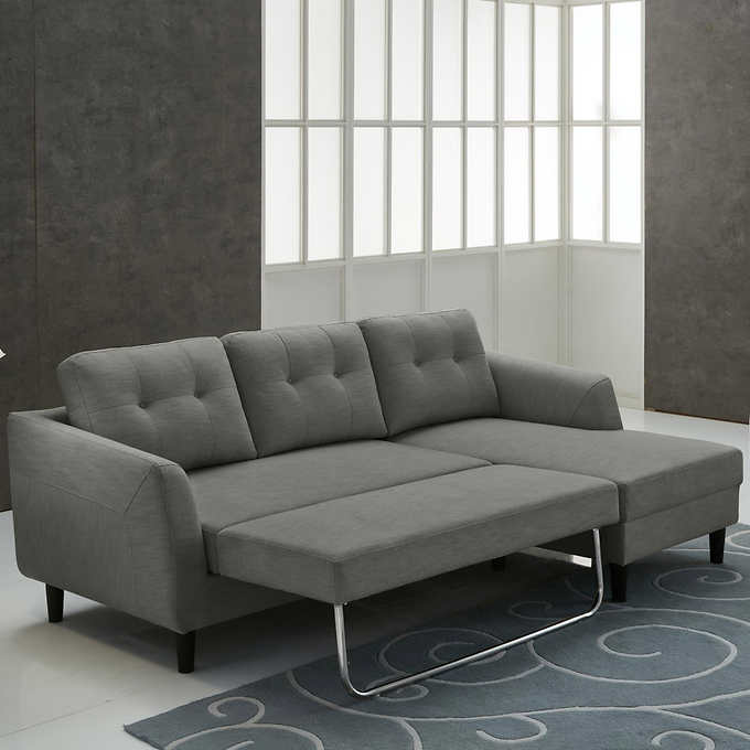 Biaggio Fabric Right Hand Facing Sectional With Pull Up Sofa Bed In 2020 Sofa Bed Sofa Sectional
