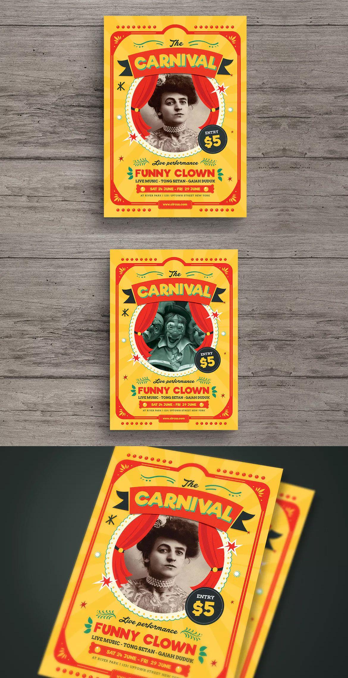 Retro Circus Carnival Flyer Template Ai Psd A  Flyer Design