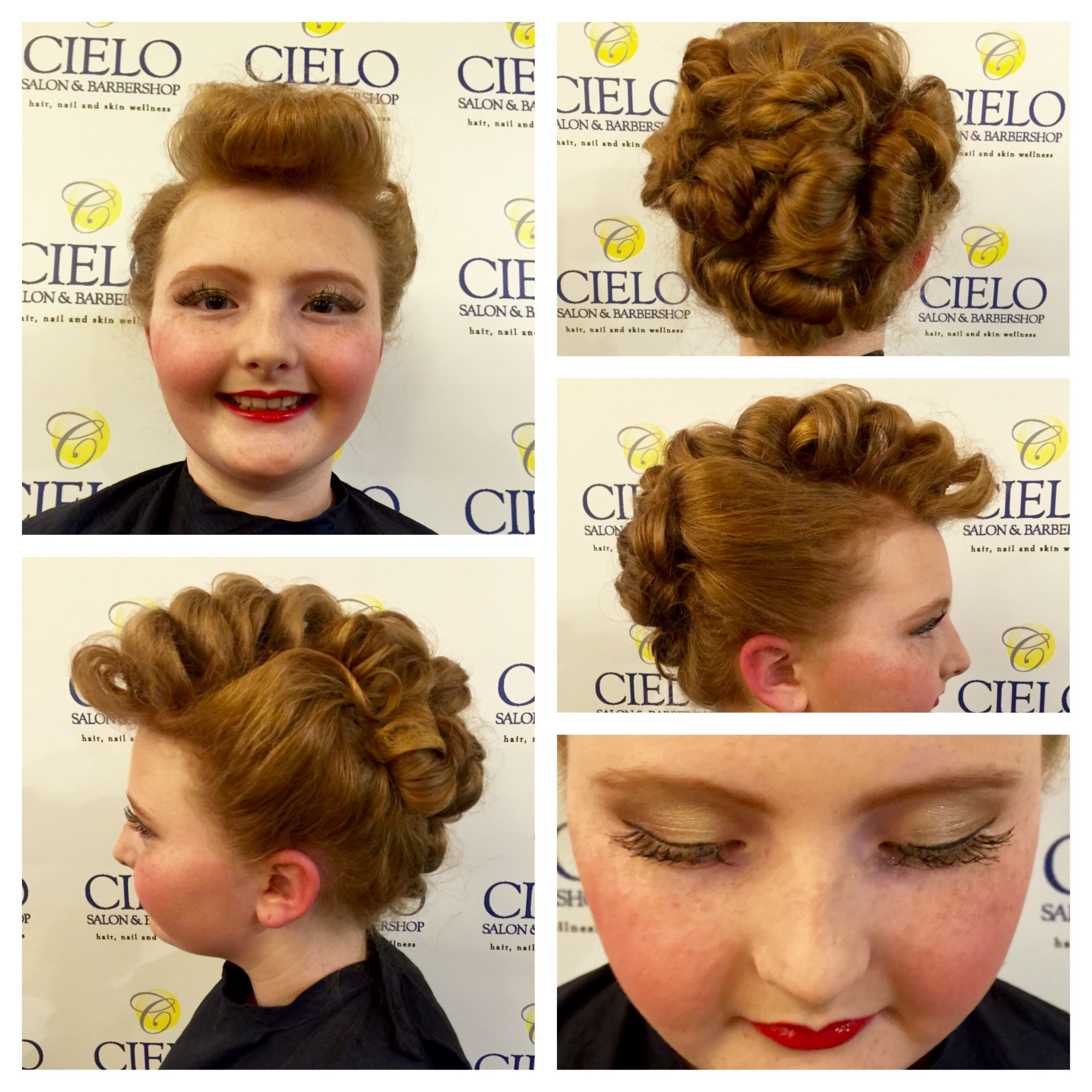 Such A Fun Day We Made This 11 Year Old Into Lucille Ball For A School Play I Did Both Her Hair And Makeup Her Hair My Hair Hair Styles