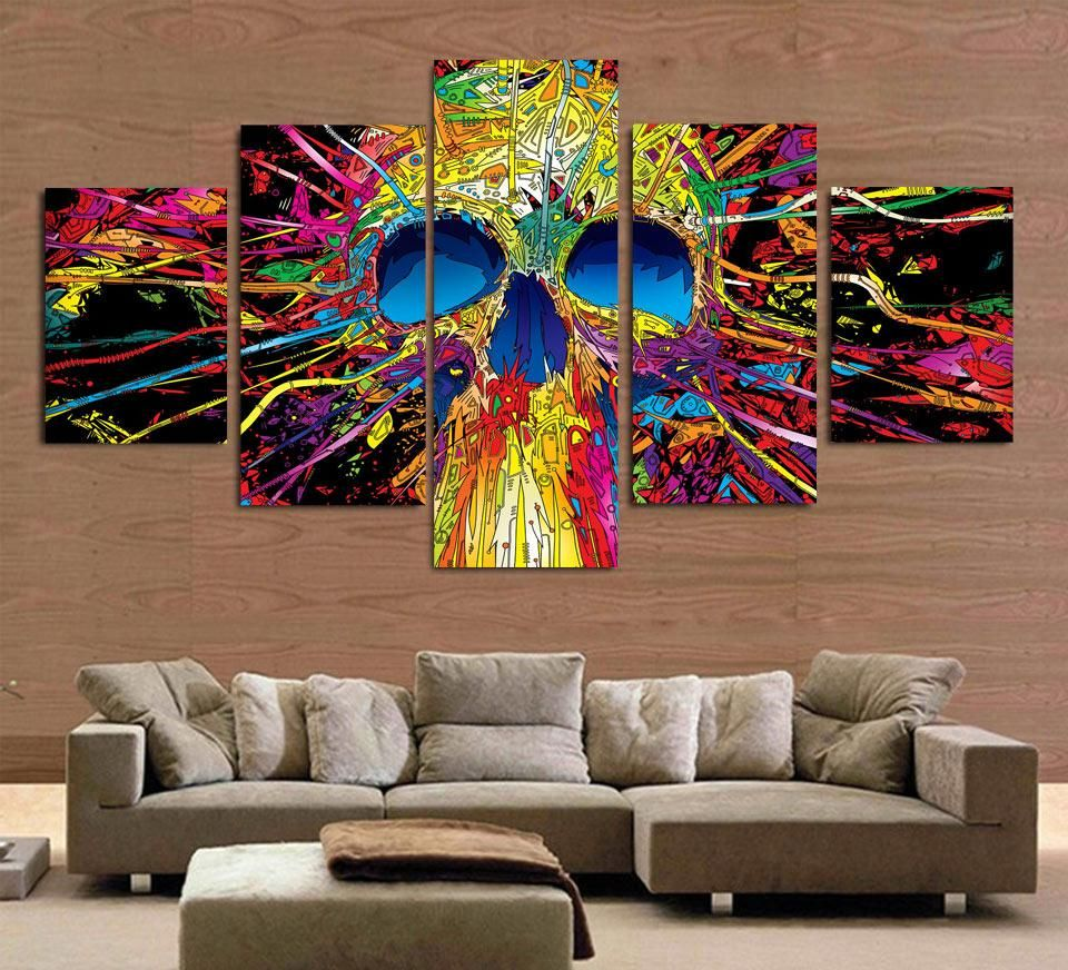 Visit To Buy Hd Printed 5 Piece Canvas Art Colorful Skull Skeleton Abstract Painting Wall Art Canvas Skull Wall Art Canvas Art Wall Decor 5 Piece Canvas Art