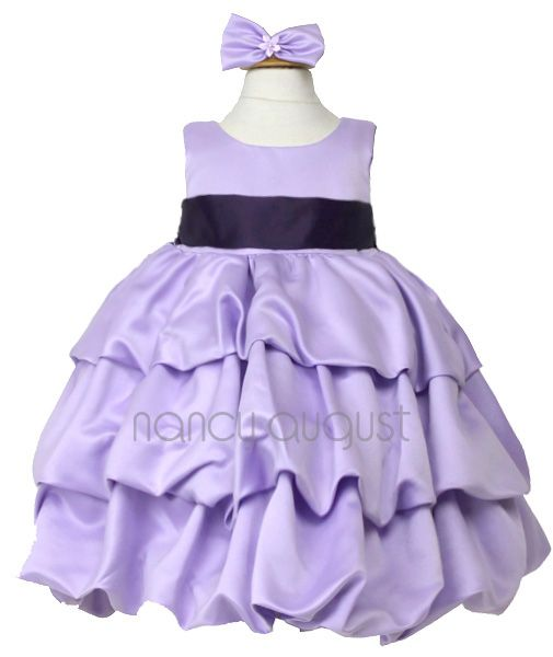 d0e177c6c Satin Lilac Baby Dress with Bubble Layered Skirt  This satin lilac ...