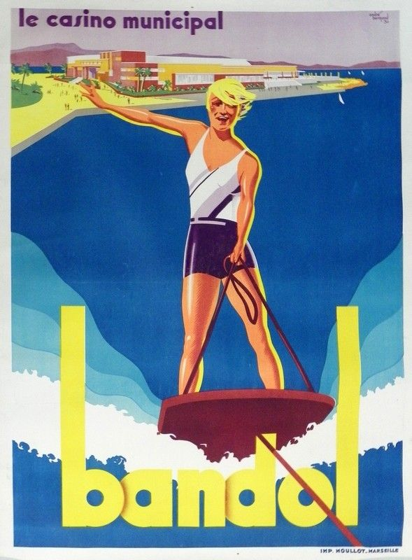 Vintage Travel Poster Bandol By Andre Bermond 1930 France Travel Posters Vintage Beach Posters Vintage Travel Posters