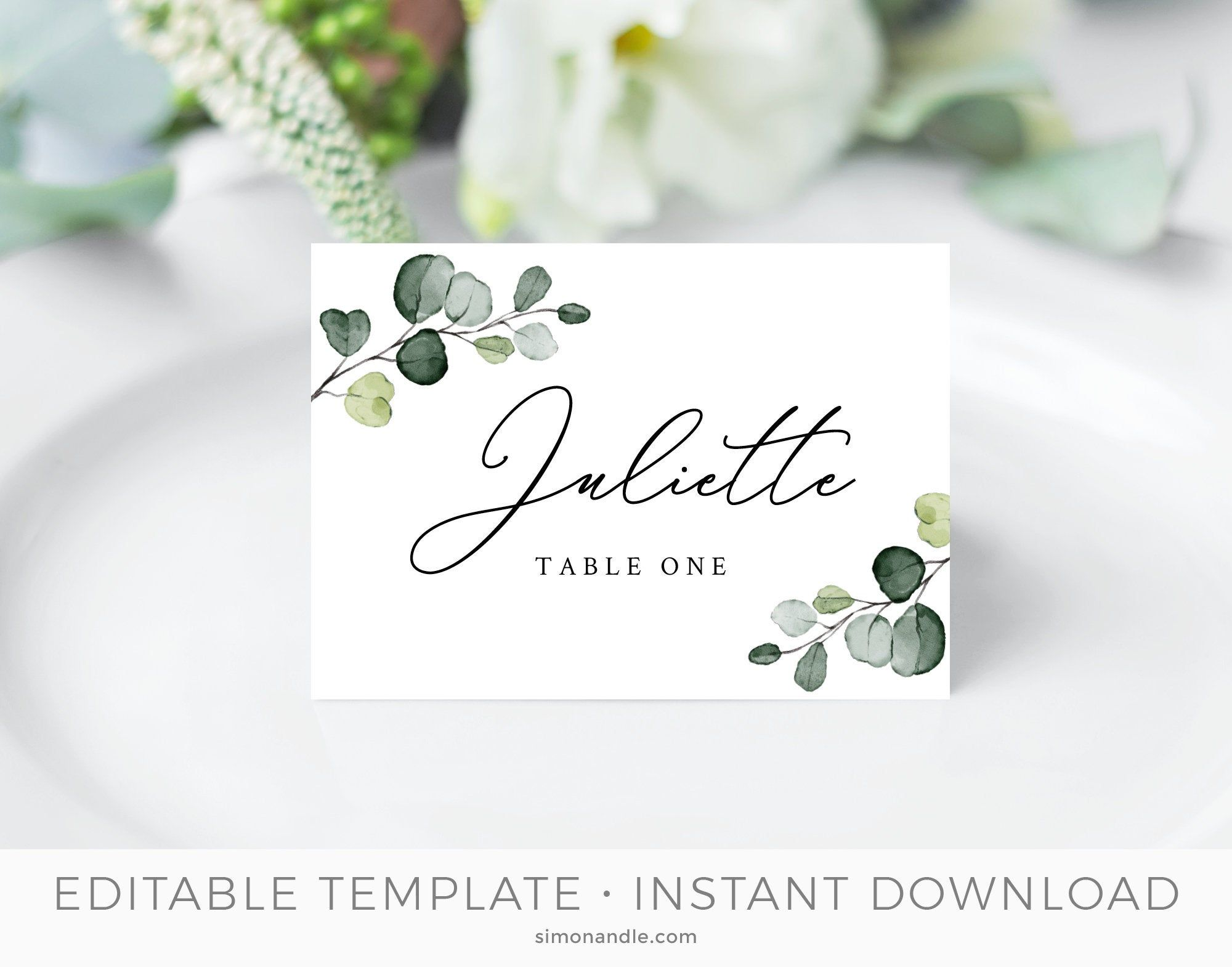 Rustic Place Cards Template Rustic Tent Cards Rustic Wedding Greenery Place Card Boho Place Cards Editable Templett Instant Download Rustic Place Cards Tent Cards Save The Date Cards
