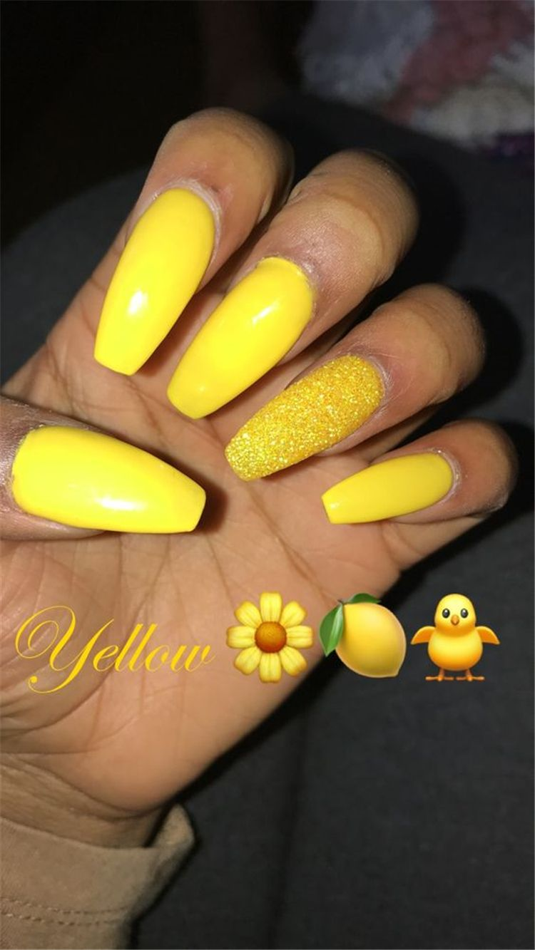 60 Trendy Yellow Nail Art Designs To Make You Stunning In Summer Page 24 Of 60 Yellow Nails Yellow Nails Design Yellow Nail Art