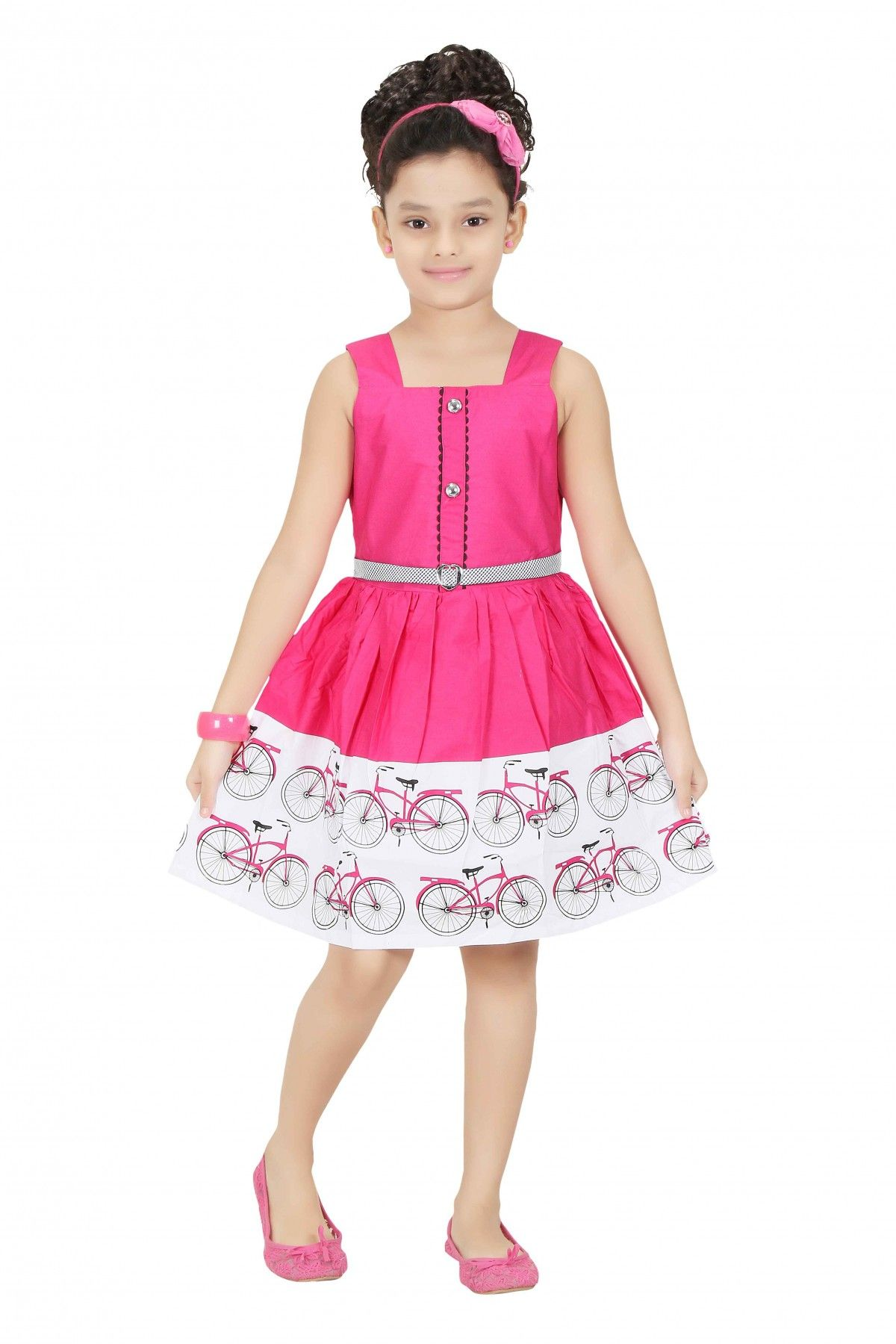 1a4dd3654ccf Cotton Party Wear Frocks in Pink Colour. Place an order today and get 30%  OFF.