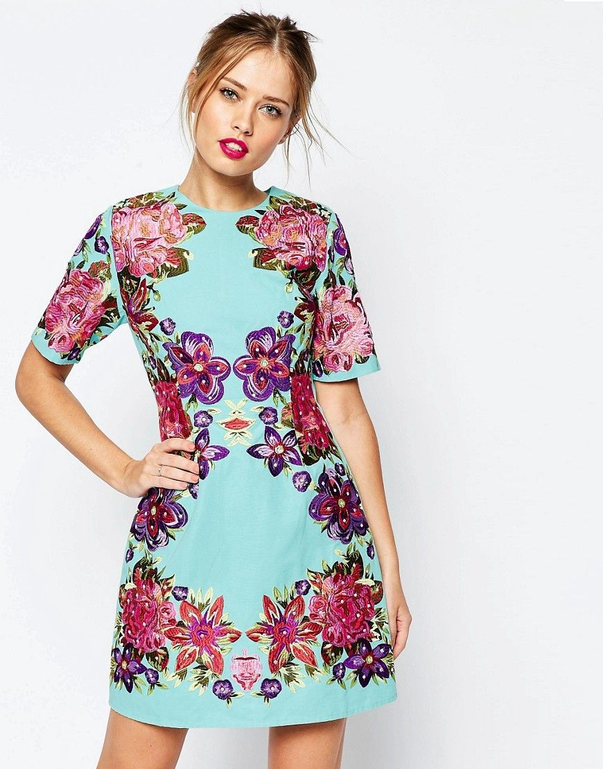 asos lace and embroidered flower mini shift dress at asos