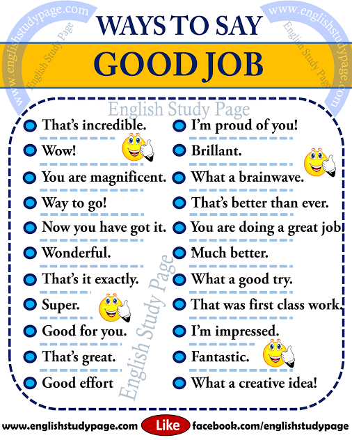 Ways To Say Good Job English Study English Learning Spoken English Vocabulary