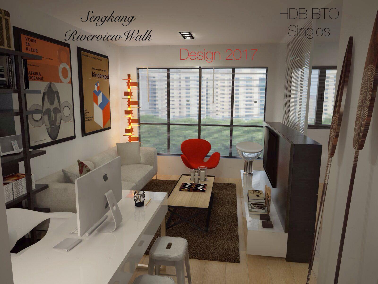 Sengkang riverview walk hdb bto for singles 47sqm 2 room for Hdb bto 5 room interior design