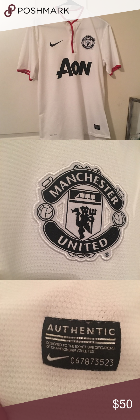 Manchester United Jersey White Manchester United Away Soccer Jersey Perfect Condition Other Than A Very Small Scuff On Nike Shirts Clothes Design Mens Tshirts