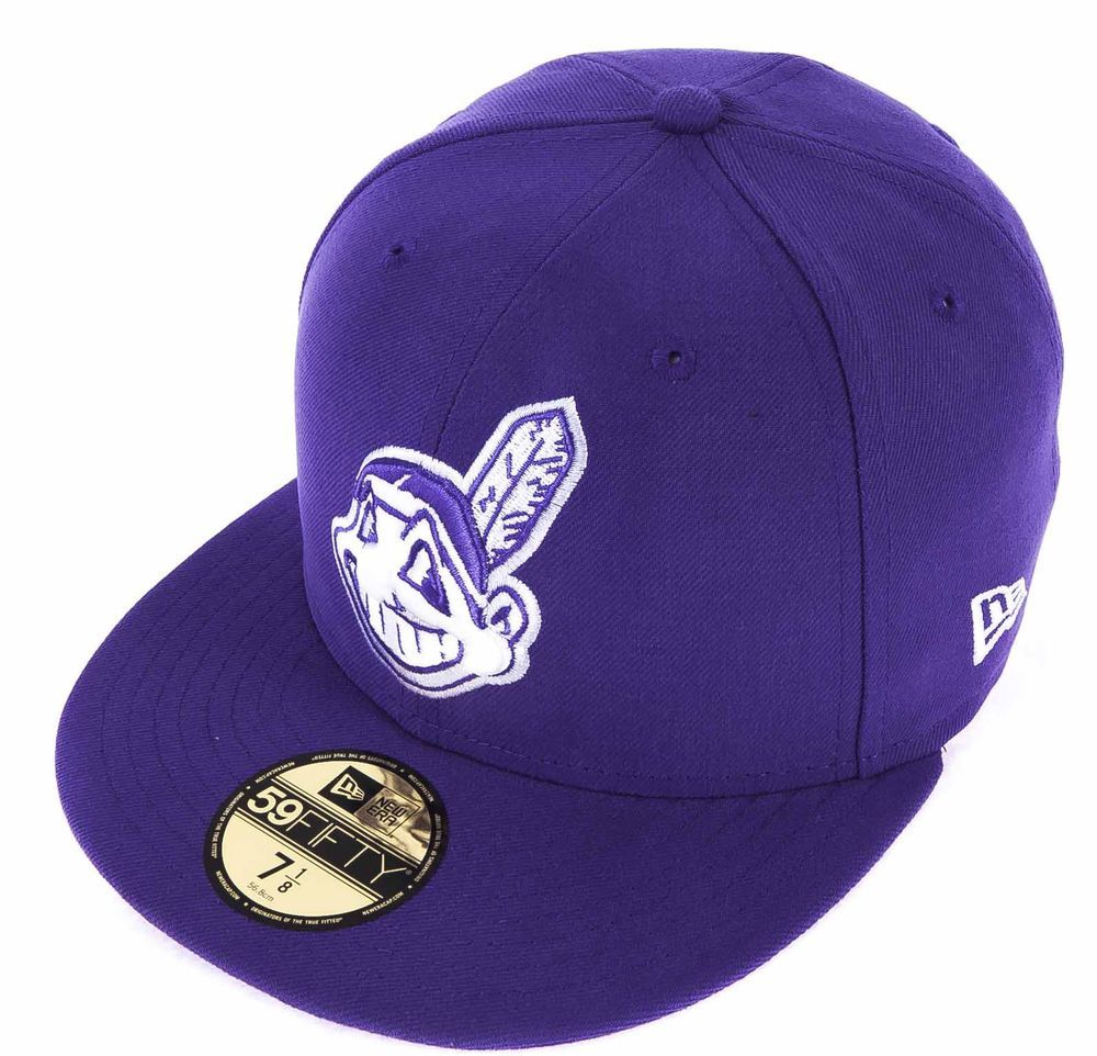 New Era Cap 59fifty Cleveland Indians Seasonal Basic Purple White Fitted Hat Newera Fitted Fitted Hats New Era Cap Cleveland Indians