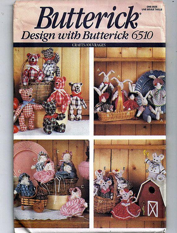 bear bunny mouse baby Butterick 6510 sewing pattern little friend animal dolls