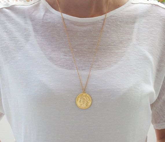 Gold long necklace gold coin necklace coin pendant necklace check out this item in my etsy shop httpsetsyil enlisting252111982gold long necklace gold coin necklace aloadofball Choice Image