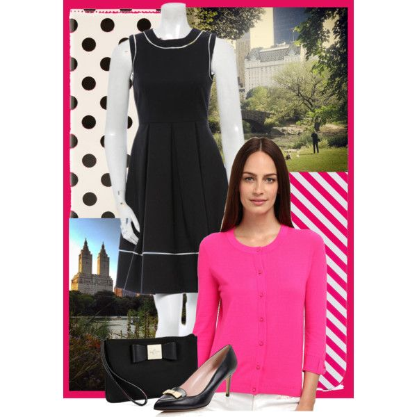 #blackdress #pinkcardigan