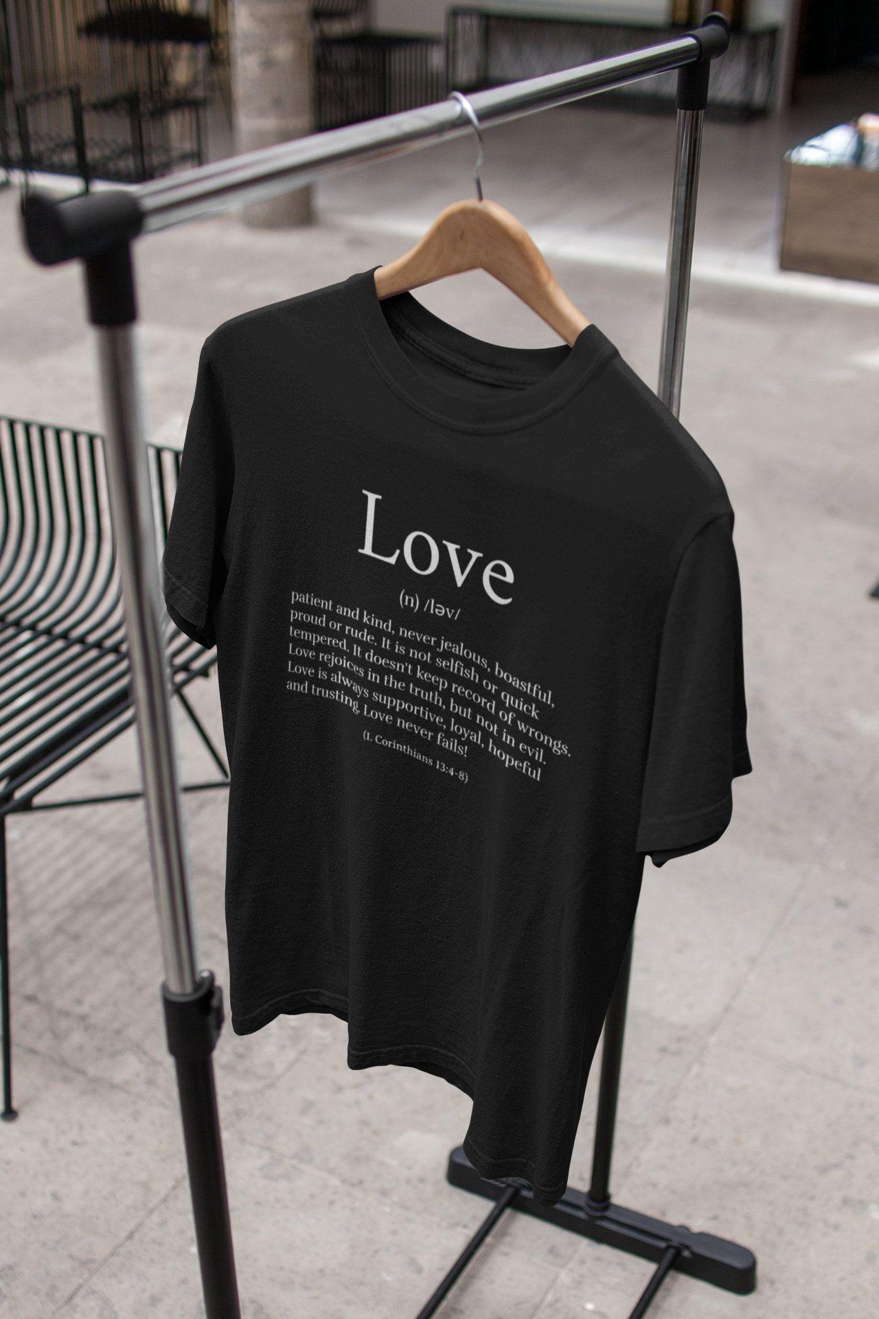 Christian t shirt love definition bible verse clothing