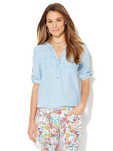 717c386fede Shop Soho Soft Shirt - Ultra-Soft Chambray - Bubble-Hem Blouse. Find your  perfect size online at the best price at New York