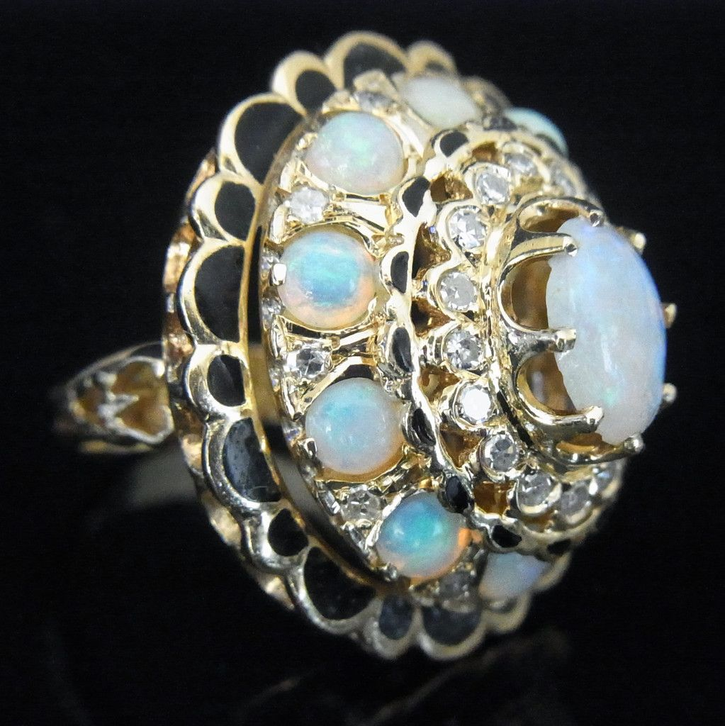 Retro Opals Diamonds Enamel 14k Gold Large Cocktail Ring Estate ...