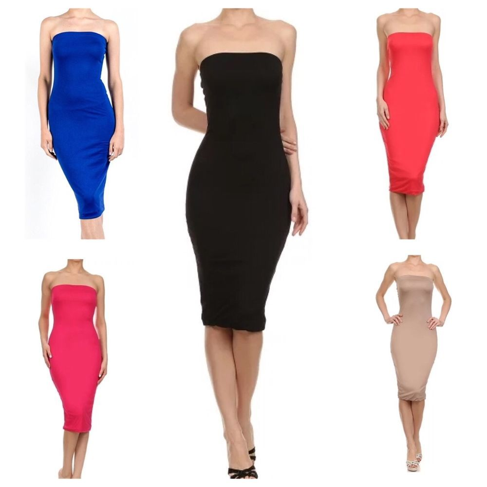 Womens Stretchy Long Strapless Midi Tube Bodycon Dress S 3x Usa Seller Imagenation Pencildress Casu Bodycon Dress Strapless Tube Dress Sleeveless Tube Top [ 1000 x 1000 Pixel ]