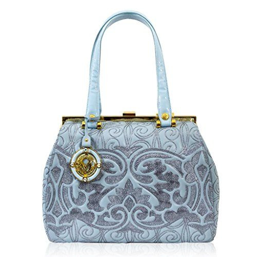 Valentino Orlandi Italian Designer Ice Blue Embroidered Leather Doctor Handbag Embroidery Kelly Bag