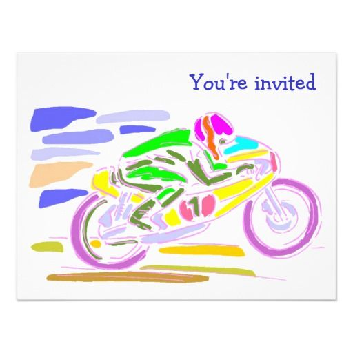 Fast Racing Motorcycle Party Invitations – Motorcycle Party Invitations