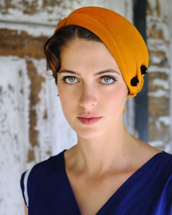 Items similar to Millinery - gold felt hat on Etsy