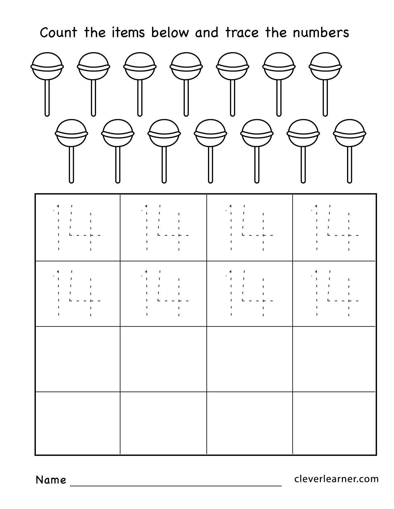 Number14 Practice Sheets For Kids Anaokulu Matematigi Okul Okul Oncesi [ 1650 x 1275 Pixel ]
