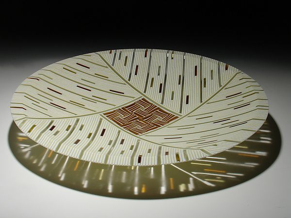 Amber Feather Inlay 15 By Patti Dave Hegland Art Glass Platter