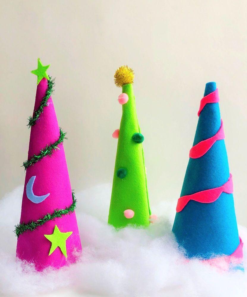 How to Make Felt Christmas Tree Cones DIY