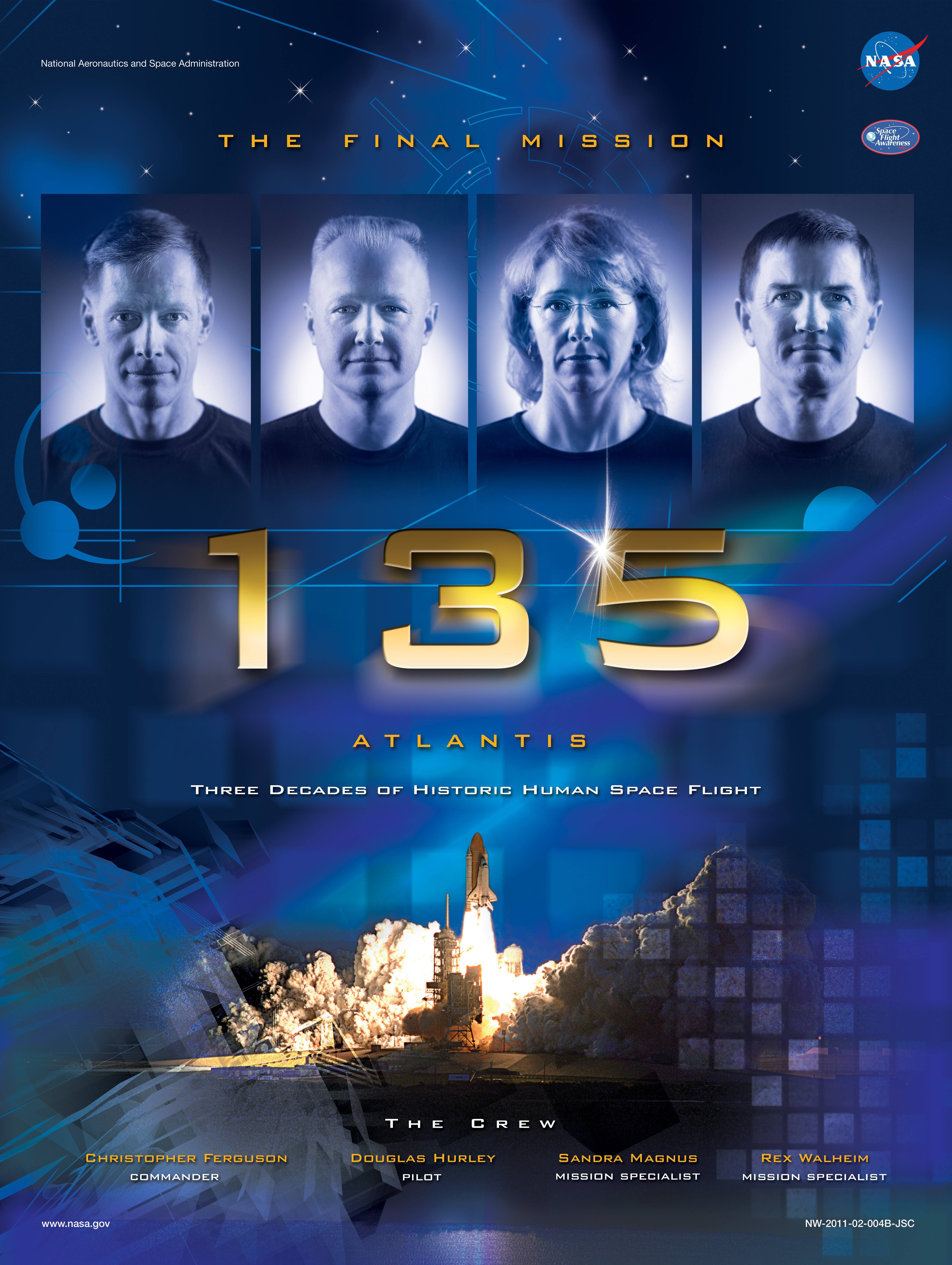 Mission poster for sts135 the last space shuttle flight