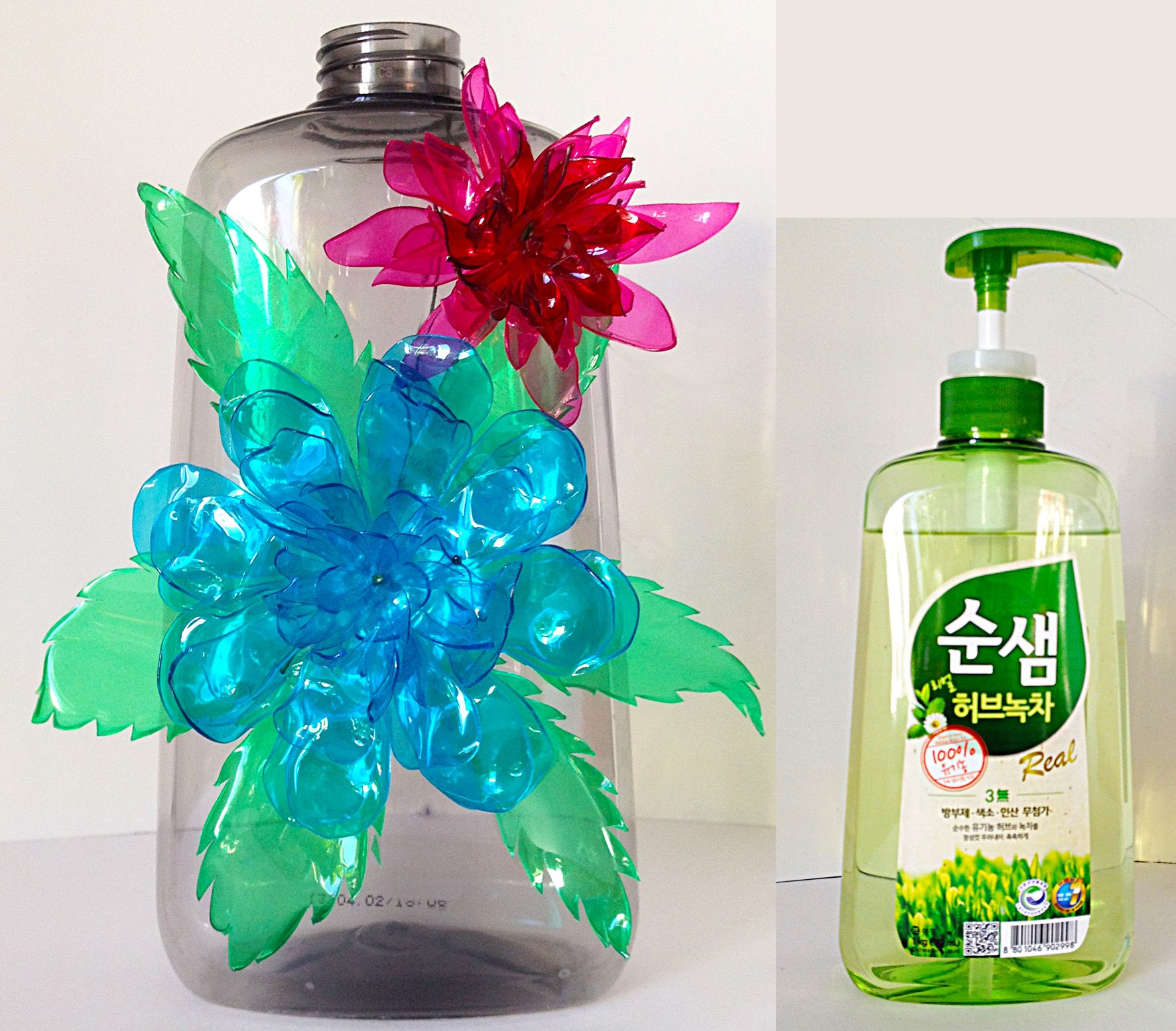 Dishwashing Detergent Bottle Recycle Plastic Bottles Flowers