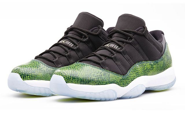 592e7c97b2ac45 Air Jordan 11 Low Green Snakeskin Black Nightshade White Volt Ice ...