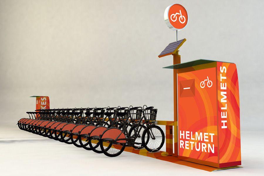 Helmet station for bike share
