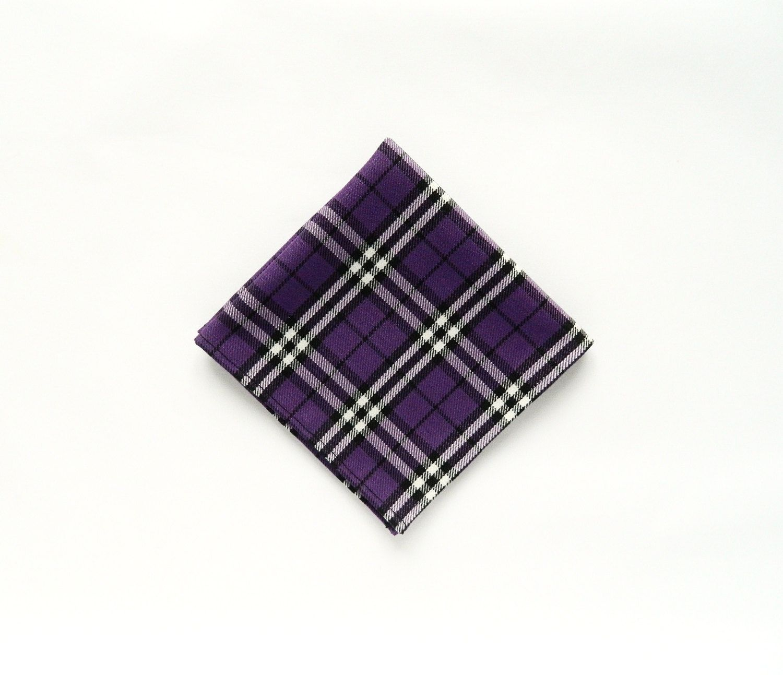 Men's plaid royal purple tartan pocket square wedding scottish plaid gift for men Groomsmen by TheStyleHubTrends on Etsy