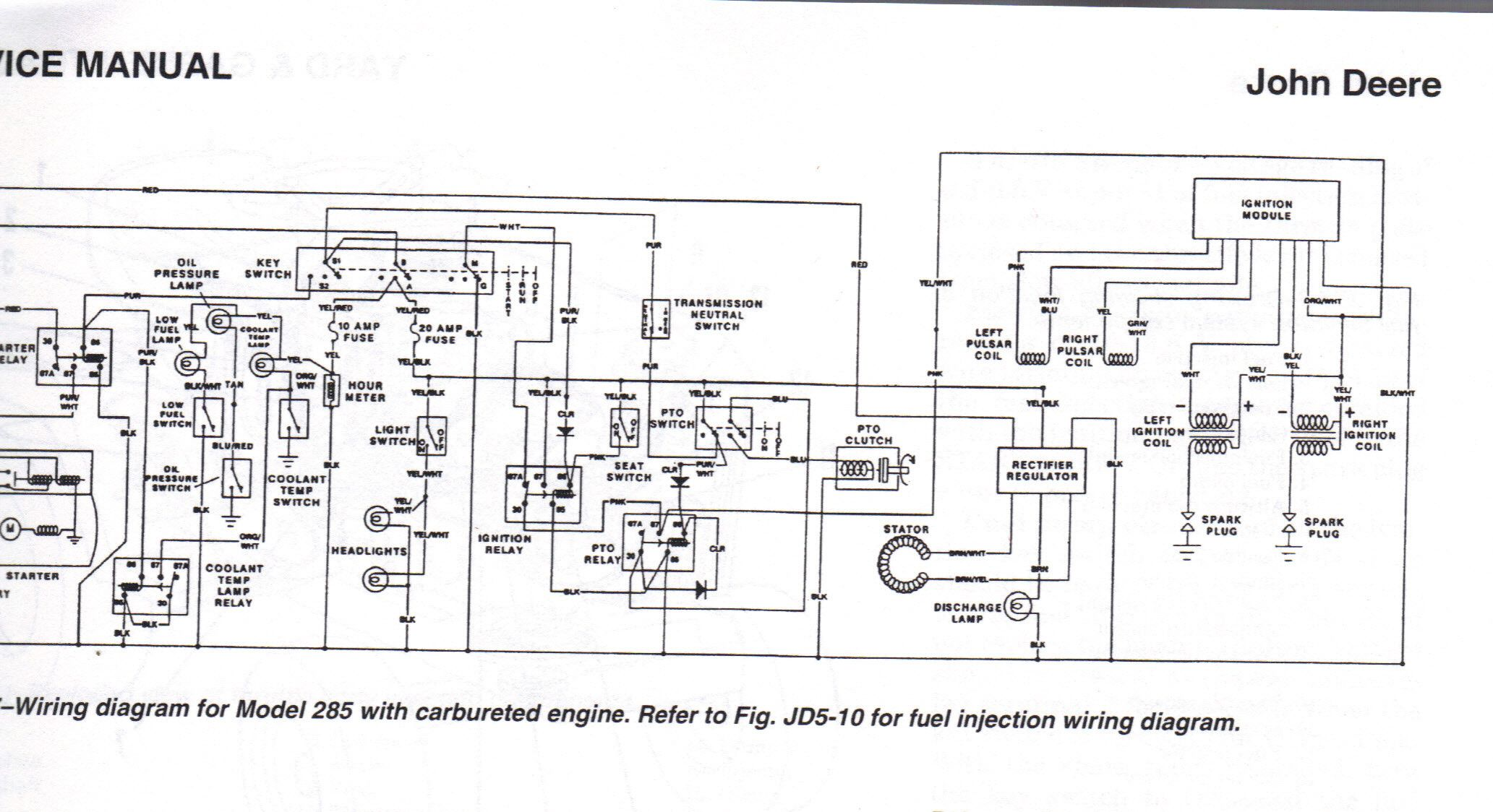 hight resolution of john deere wiring diagram to service manual for model 285 with rhjohn deere wiring diagram to