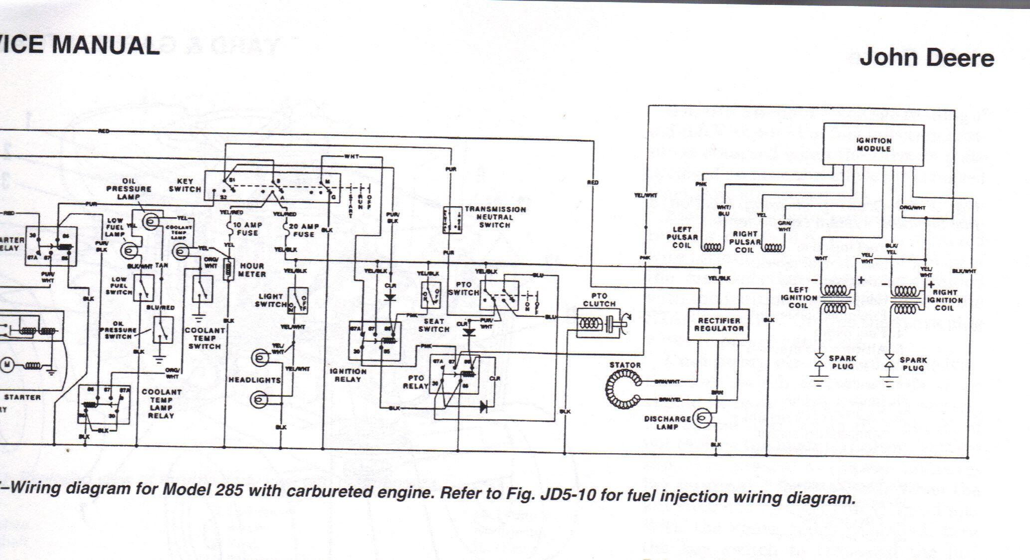 john deere wiring diagram to service manual for model 285 with rhjohn deere wiring diagram to [ 2065 x 1124 Pixel ]
