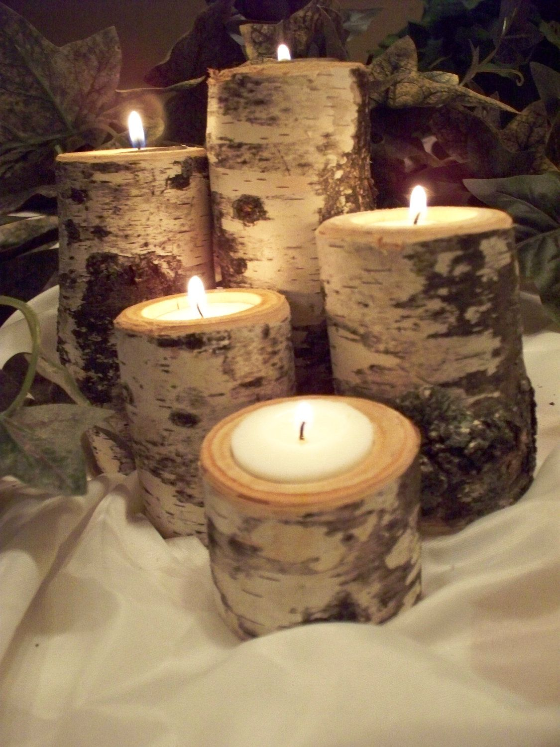 Birch tea light candle holder set of five rustic natural birch logs