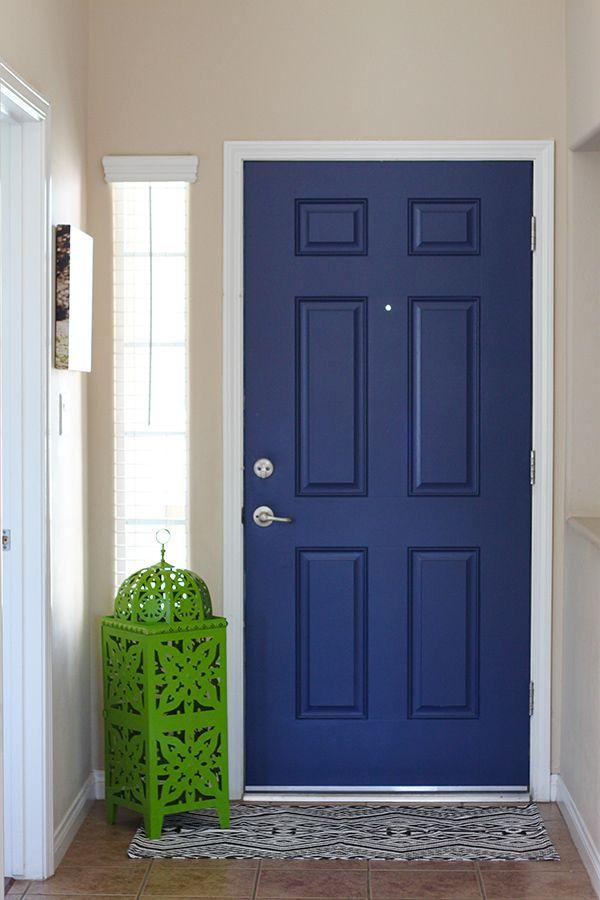 Navy Blue Interior Front Door Easy Pop Of Color Small Entry